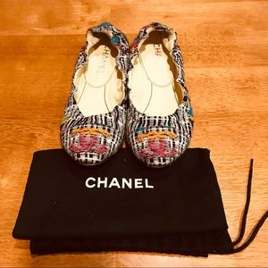 Chanel Tweed Ballet Flats